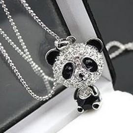 Poze Colier fashion cu cristale si pandant ursulet panda