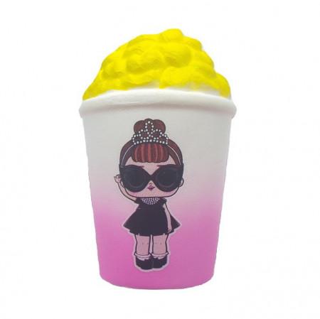 Poze Jucarie Squishy, model pahar popcorn, design fetita cu ochelari de soara si coronita