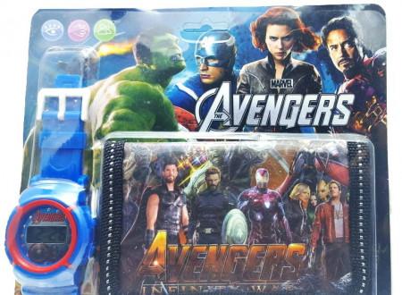 Poze Set Ceas pentru baietei cu portofel, tip Avangers, model 1