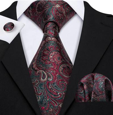 Poze Set cravata + batista + butoni - matase naturala 100% - model 44