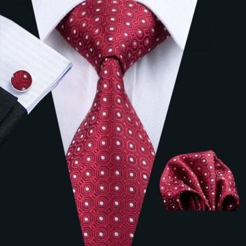 Poze Set cravata + batista + butoni - matase naturala 100% - model 5