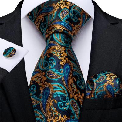 Poze Set cravata + batista + butoni - matase naturala 100%, tesatura Jaquard - model 15