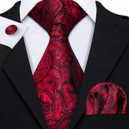 cravata matase naturala 100% cu batista si butoni, rosu cu negru