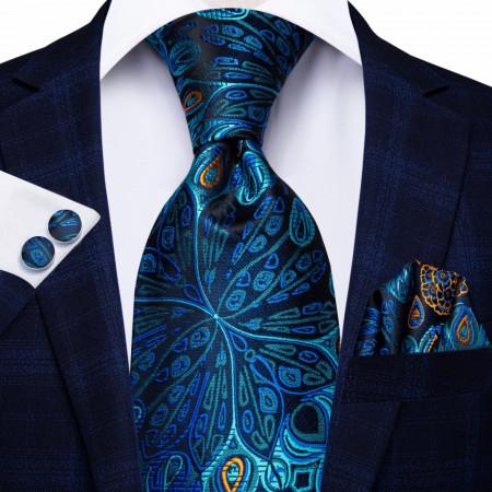 set cravata matase naturala cu batista si butoni