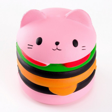 Poze Squishy pisicuta hamburger, parumata, roz