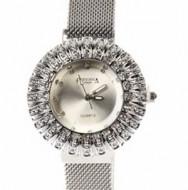 Ceas dama bratara magnetica, Crystal Time, argintiu + cutie eleganta cadou