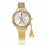 Ceas dama elegant cu Rurnul Eiffel si pandantiv, auriu