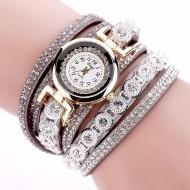 Ceas dama elegant, curea lunga Full crystals - grey- Cadoulchic.ro