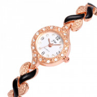 ceas elegant de dama cu cristale auriu cu negru