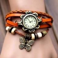 Ceas dama pandant fluture - orange - Cadoulchic.ro
