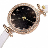 Ceas dama Starry Sky, curea fina, cu cristale, alb / negru / auriu