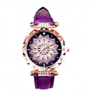 Ceas dama Stylish Flower & Crystals, purple