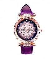 Ceas dama Stylish Flower & Crystals, purple