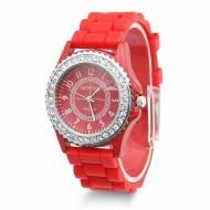 Ceas de dama Geneva cu cristale - Red