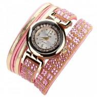 Ceas de dama, stil fashion, cu cristale, roz