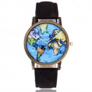 Ceas de dama stil vintage, cu harta lumii