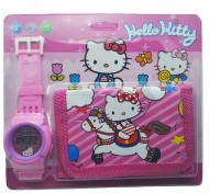 Ceas pentru fetite cu portofel, tip Hello Kitty, model 1