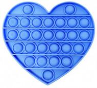 Jucarie Pop It, antistres, forma inima, albastra, diametru 13 cm