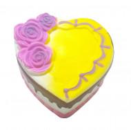Jucarie Squishy Jumbo, parfumata, model tortulet inima cu trandafiri