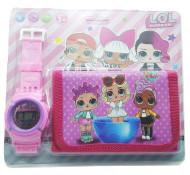Set Ceas pentru fetite cu portofel, tip LOL Surprise, model 3