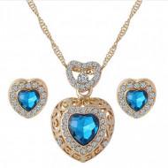 Set elegant (colier si cercei), cu piatra fatetata si cristale, model 2