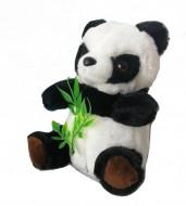 Ursulet panda de plus vorbitor, jucarie interactive, 17 cm, culoare alb / negru