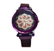 ceas ieftin dama cu cristale bratara magnetica mov purple