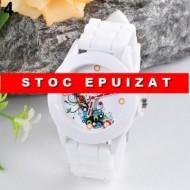 Ceas dama, curea silicon - model floral