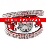 Ceas dama White Crystals on Red