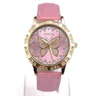 Ceas fashion de dama cu fluture si cristale - roz