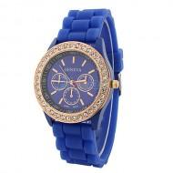 Ceas Geneva de dama cu cristale - bleumarine cu auriu