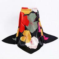 Esarfa eleganta din matase satinata, cu design floral, model 3