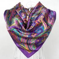 Esarfa eleganta din matase satinata, cu design modern, purple