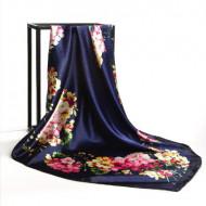Esarfa eleganta din matase satinata, model floral, multicolora, model 18