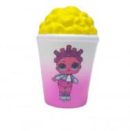 Jucarie Squishy, model pahar cu popcorn, design fetita cu patine