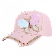 Sapca dama, inchidere reglabila, design fluture, cu perlute si tinte, roz
