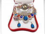 Set cadou de Dama, Janine, cu ceas, cercei, colier si inel, cristale multicolore