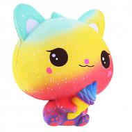 Squishy jumbo, jucarie parfumata, model pisicuta cu inghetata, multicolora