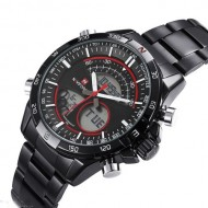 Ceas barbatesc metalic dual-time Naviforce, NF9031M, Military / Sport