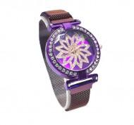Ceas dama cu bratara magnetica, Flower & Crystals, purple