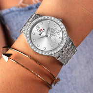 ceas de dama elegant cu pretz mic argintiu