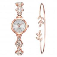 Ceas dama elegant cu cristale + bratara, set cadou, model 2
