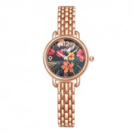 Ceas dama Summer Flowers, rose golden