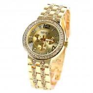 Ceas Geneva, de dama, cu cristale pe carcasa si bratara - auriu
