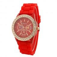 Ceas Geneva de dama cu cristale - rosu cu auriu