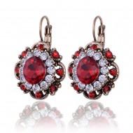 Eleganti cercei cu cristale - red & white