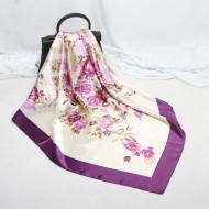 Esarfa eleganta din matase satinata, model floral, multicolora, model 19