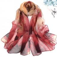 Esarfa eleganta din voal, cu design floral, rosu cu bej, model 3