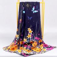 Esarfa eleganta din voal, cu design floral si fluturi, model 15