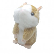 Hamster de plus vorbitor, jucarie interactive, culoare alb / bej